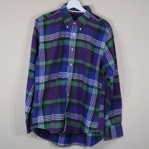 Tommy Hilfiger Plaid Purple Long-Sleeve Button-Up